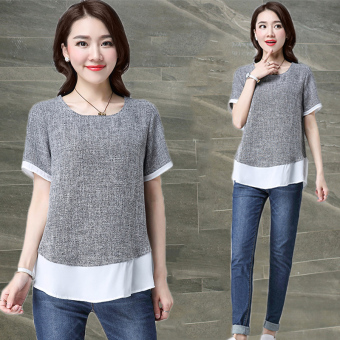 Loose Korean-style Linen summer color stitching Top T-shirt (Gray)