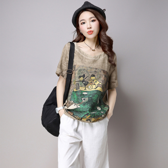Loose Korean-style Linen summer Plus-sized T-shirt (Brown)