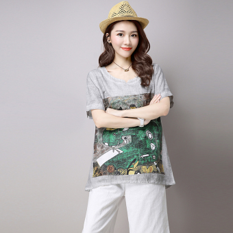 Loose Korean-style Linen summer Plus-sized T-shirt (Gray)