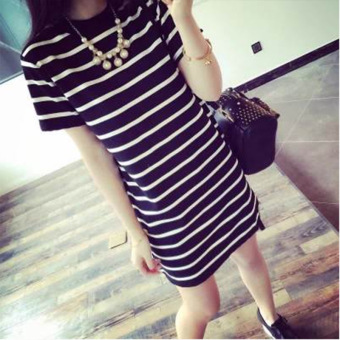 Loose Korean-style long section Women's striped summer (Black)