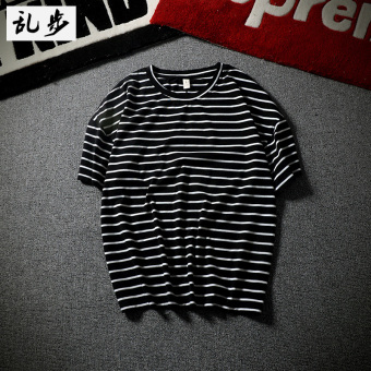 Loose Korean-style men autumn round neck bottoming shirt Striped short sleeved t-shirt (DT501 Striped short sleeved black)
