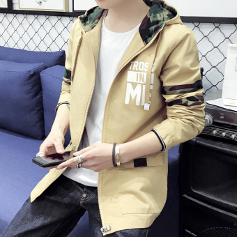 Loose Korean-style men spring and autumn wind couple's coat handsome jacket (Yellowish brown color)