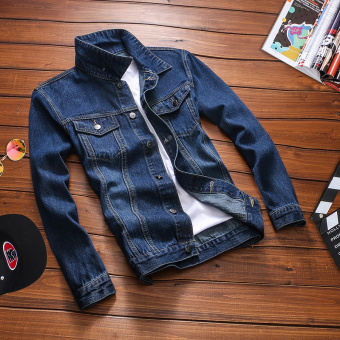 Loose Korean-style men Teenager long-sleeved jacket denim jacket (Shen Lan)