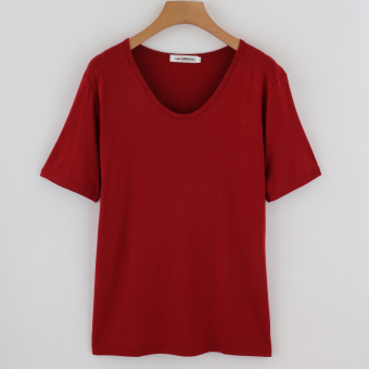 Loose Korean-style mercerized cotton solid color female short-sleeved shirt bottoming T-shirt (Wine red color)