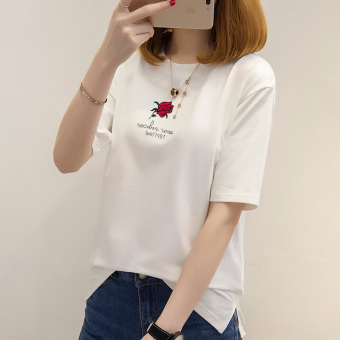 Loose Korean-style New style T-shirt female Print Female Summer (Pearl White)