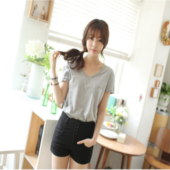 Loose Korean-style Plus-sized cotton short-sleeved t-shirt (Gray)