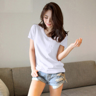 Loose Korean-style Plus-sized cotton short-sleeved t-shirt (White)