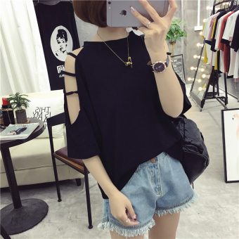 Loose Korean-style Short sleeve off-the-shoulder Top (202 black) Women Clothing Tops Blouse T-Shirts