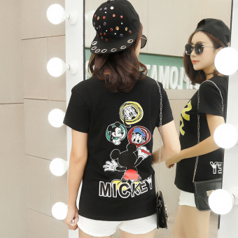 Loose Korean-style short-sleeved female New style T-shirt (Black)