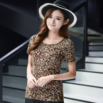 Loose Korean-style short-sleeved female Slim fit women's Top (Leopard)