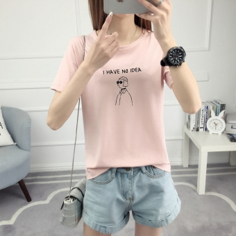 Loose Korean-style short sleeved female student T-shirt (528-Lotus pink) (528-Lotus pink)
