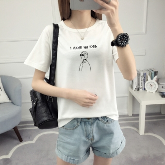 Loose Korean-style short sleeved female student T-shirt (528-white) (528-white)