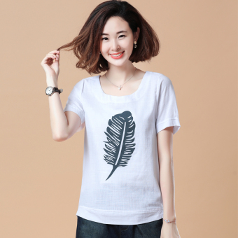 Loose Korean-style short-sleeved Print round neck cotton T-shirt (Feather paragraph white)