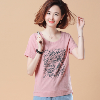 Loose Korean-style short-sleeved Print round neck cotton T-shirt (New two-dimensional code section leather pink)