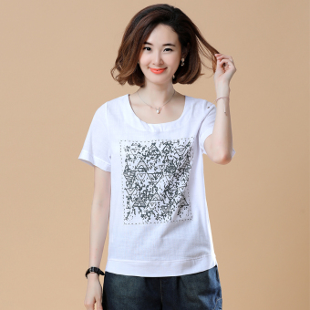 Loose Korean-style short-sleeved Print round neck cotton T-shirt (New two-dimensional code section white)