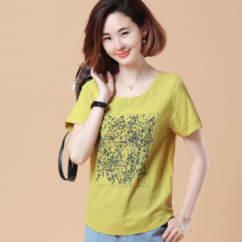 Loose Korean-style short-sleeved Print round neck cotton T-shirt (New Two microcode ginger yellow)