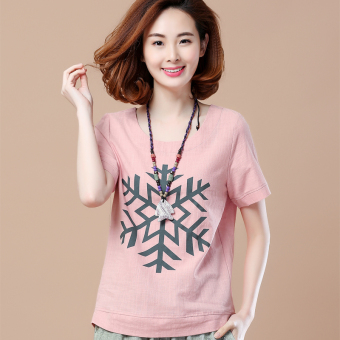 Loose Korean-style short-sleeved Print round neck cotton T-shirt (Snowflake models leather red)