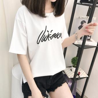 Loose Korean-style short-sleeved t-shirt New style Female Summer (White)