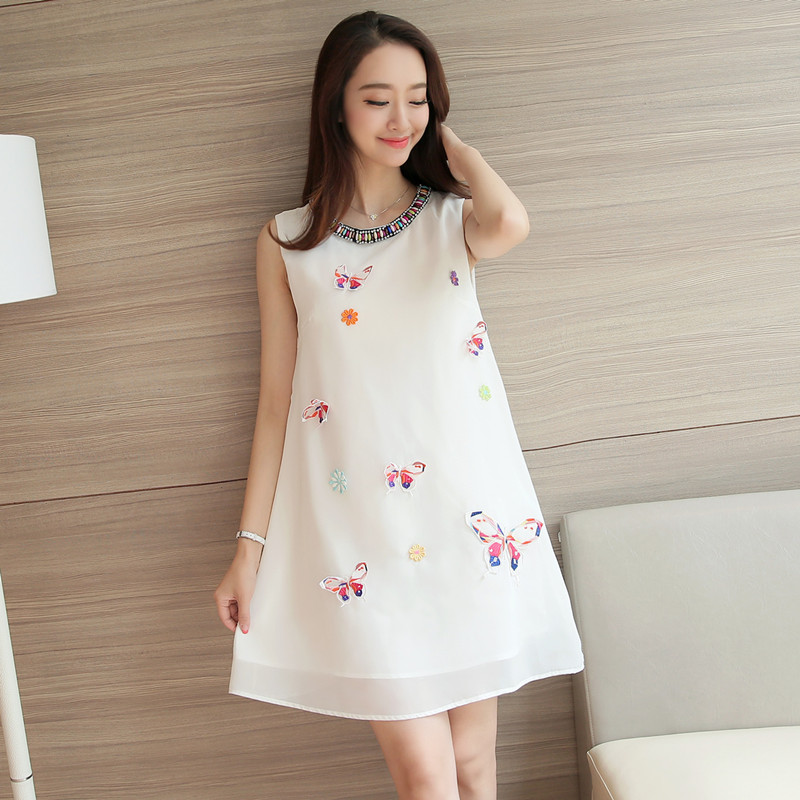 Small Wow Maternity Fashion Round Solid Color Cotton Above Knee two-piece Dress White qwrQcMQS9. Source · Loose Korean-style sleeveless beaded Butterfly ...