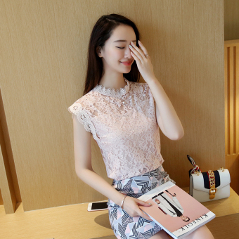 Loose Korean-style slimming Top sleeveless lace shirt (Pink color) (Pink color)