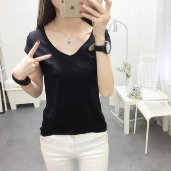 Loose Korean-style slimming Top white female T-shirt (Black) (Black)