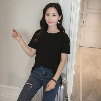 Loose Korean-style slub cotton solid color student T-shirt cotton Top (Black [before short after long section]) (Black [before short after long section])