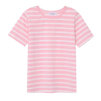 Loose Korean-style solid color cotton short-sleeved bottoming shirt striped T-shirt (Pink color)