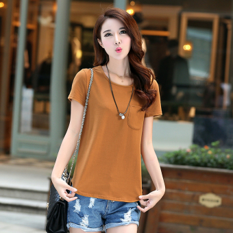 Loose Korean-style solid New style summer T-shirt (Light brown)