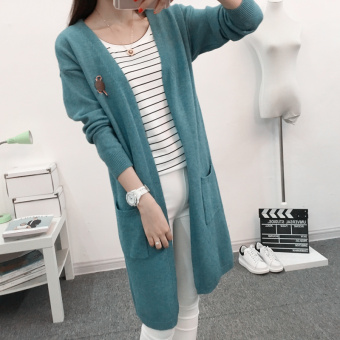 Loose Korean-style Spring and Autumn mid-length New style sweater knit cardigan (Dark Green) (Dark Green)