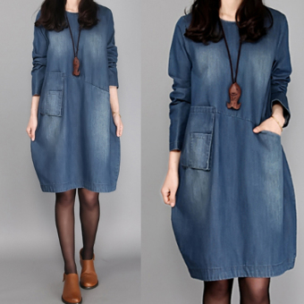Loose Korean-style Spring and Autumn New style medium-length dress