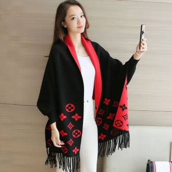 Loose Korean-style tassled long-sleeved mid-length sweater knit cardigan (Black)