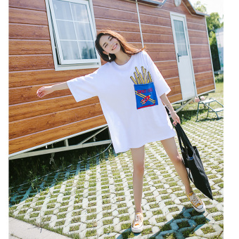 Loose Korean-style white New style T-shirt Female Summer (White)