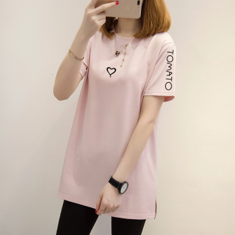 Loose Korean-style white short-sleeved women T-shirt Top (Lotus pink-black letter)