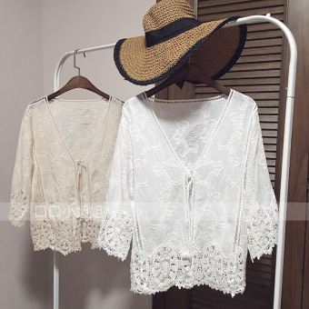 Loose Korean-style white Slimming effect hollow blouse lace shirt