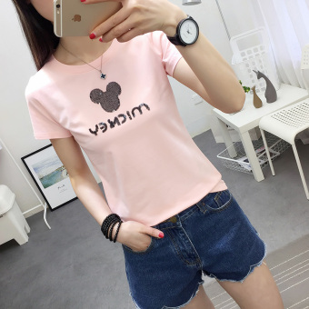 Loose Korean-style white women's short sleeved students small shirt T-shirt (Pink)
