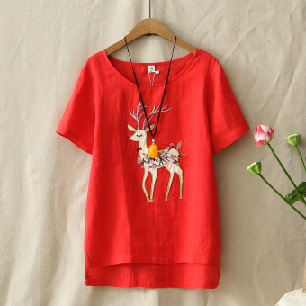 Loose literary embroidery female short-sleeved embroidered Top T-shirt (Red)