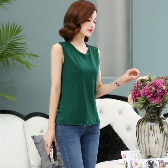 Loose minimalist Cotton Short sleeved women T-shirt sleeveless base shirt (Dark green color)