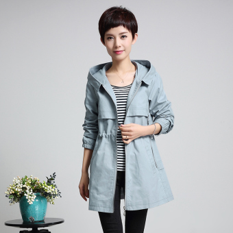 Loose mm2017 Korean-style slimming mid-length Top New style jacket (Sky blue color)