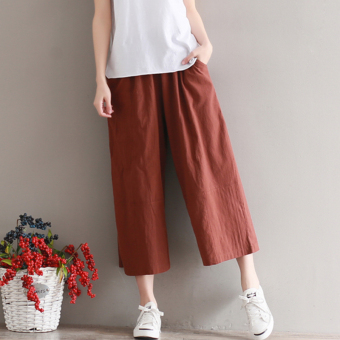 Loose Mori girl straight pantyhose cotton linen casual pants (Brown) (Brown)