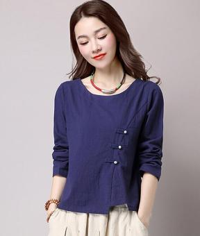 Loose national style cotton linen solid color New style Top (Dark blue color) (Dark blue color)