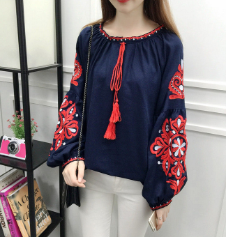 Loose national style cotton linen women embroidered flower Top long-sleeved shirt (Blue) (Blue)