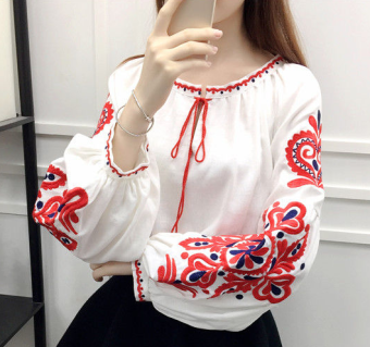 Loose national style cotton linen women embroidered flower Top long-sleeved shirt (White) (White)