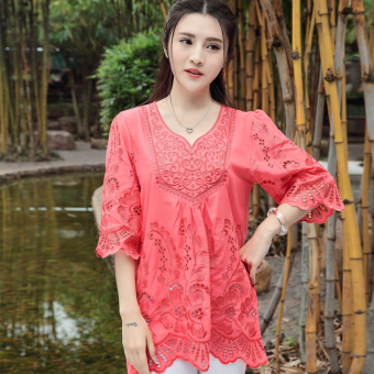 Loose national style cotton women embroidered flowers shirt meat (Red) (Red)