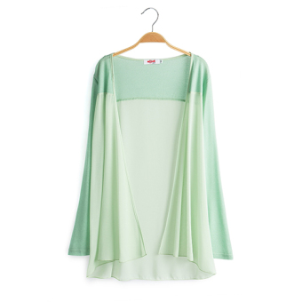 Loose New style long section of thin cardigan long-sleeved chiffon shirt (Green beans color)