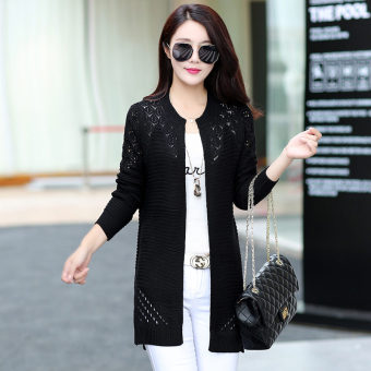 Loose New style mid-length knitted shirt (K8810 black) (K8810 black)