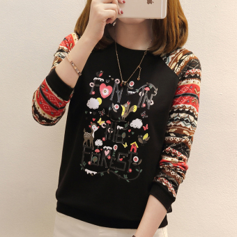 Loose New style printed casual bottoming shirt T-shirt (Black)