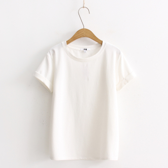 Loose popular plain this year solid color short-sleeved t-shirt (White)