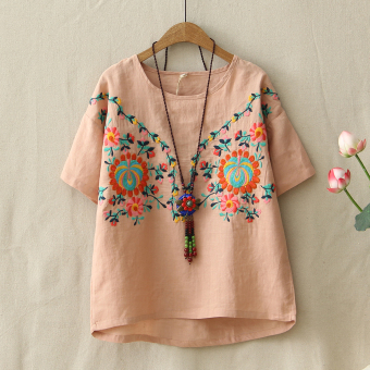 Loose retro embroidery female short-sleeved bottoming Top T-shirt (Pink)