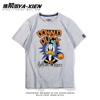 Loose retro female short-sleeved Print student T-shirt (Men's Heather grey retro Donald Duck CSN)