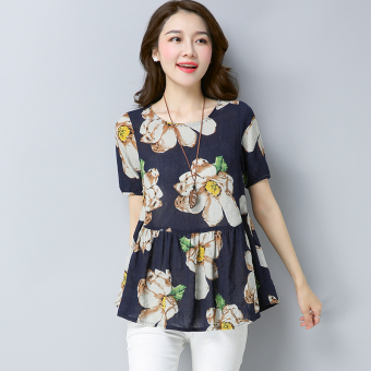 Loose retro Linen female Print short-sleeved Top T-shirt (Dark blue bottom flower)